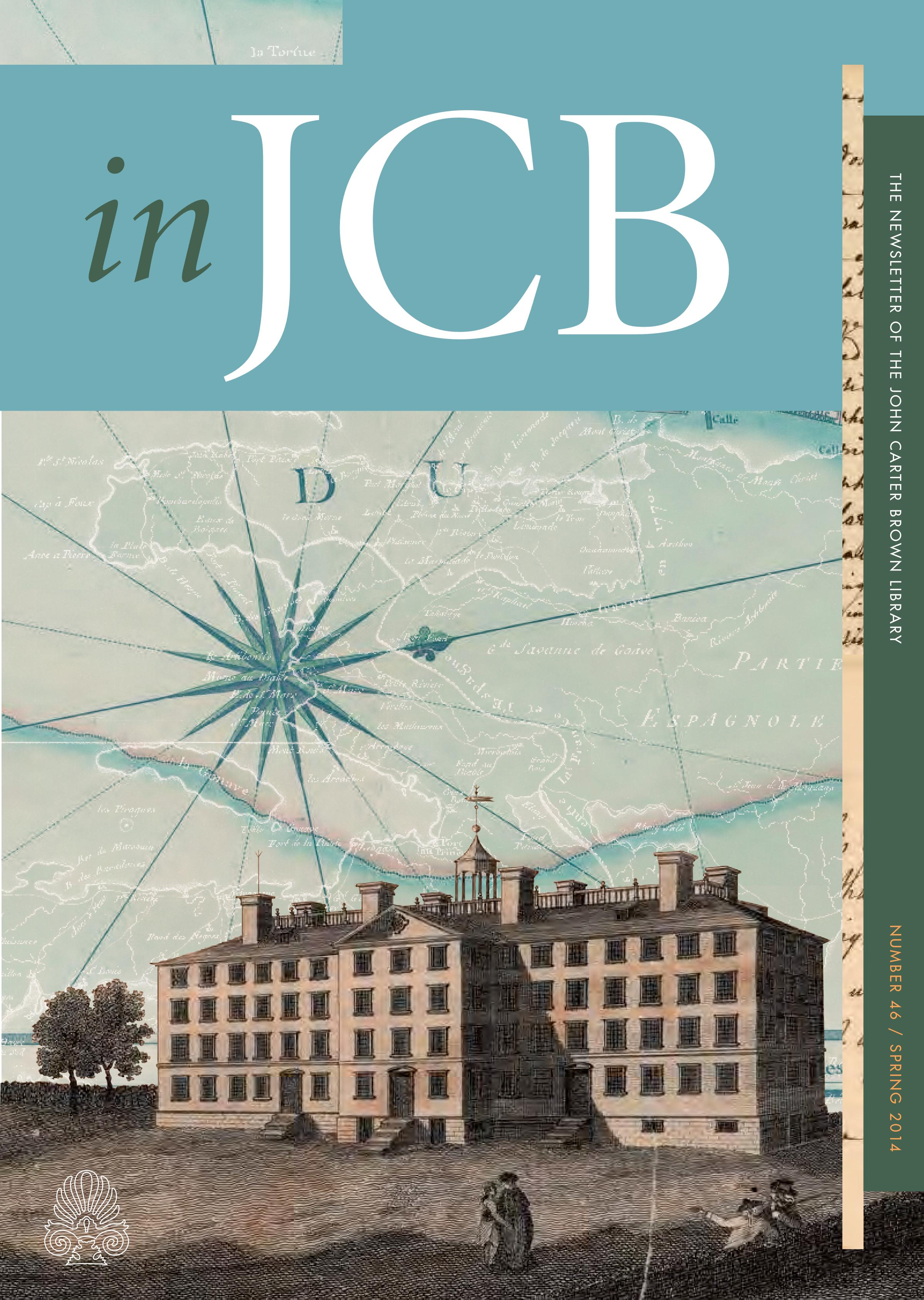 colorful cover of the In JCB newsletter, showing a large building in the foreground and a compass rose and map in the background