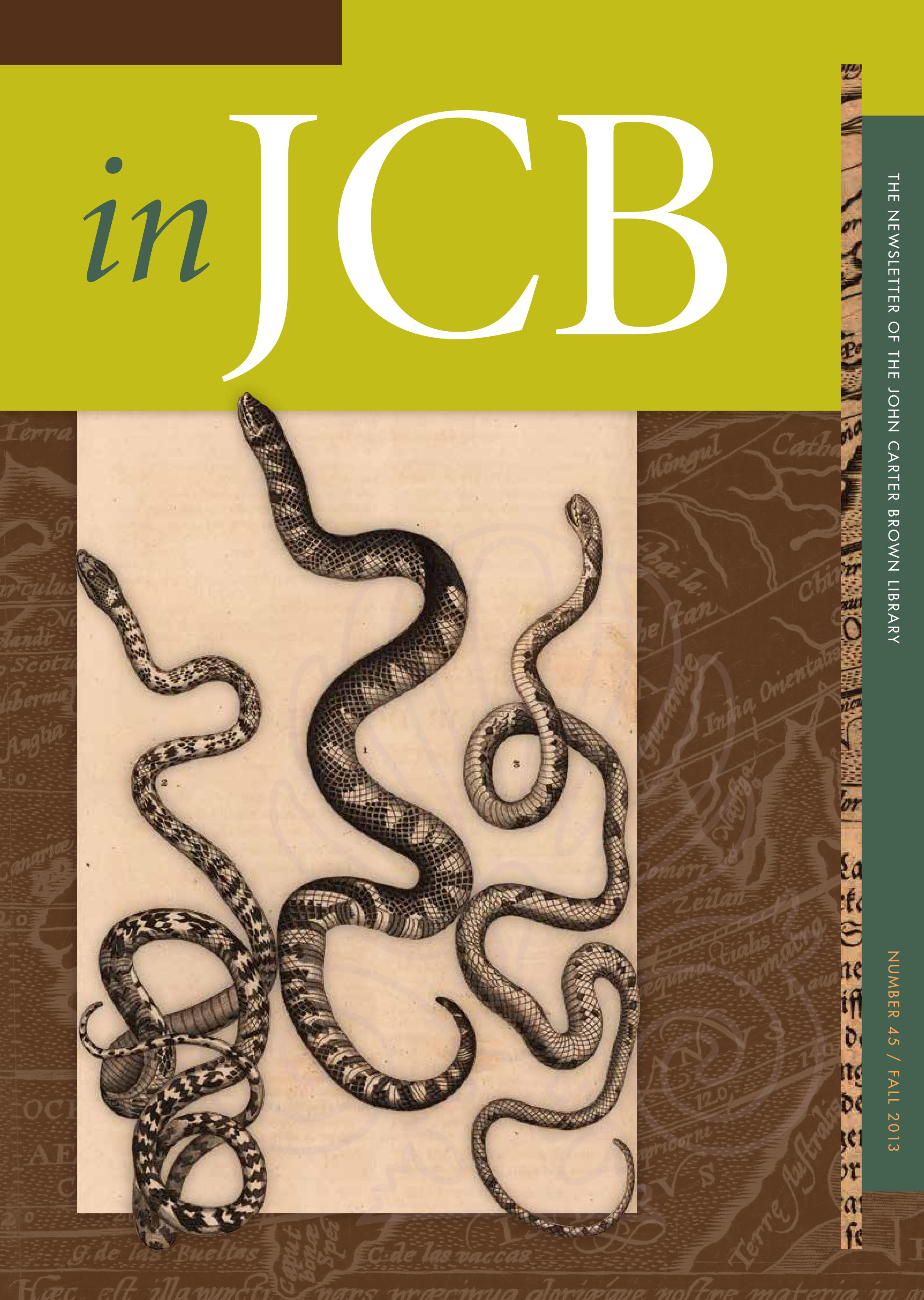 colorful cover of the In JCB newsletter, showing three snakes