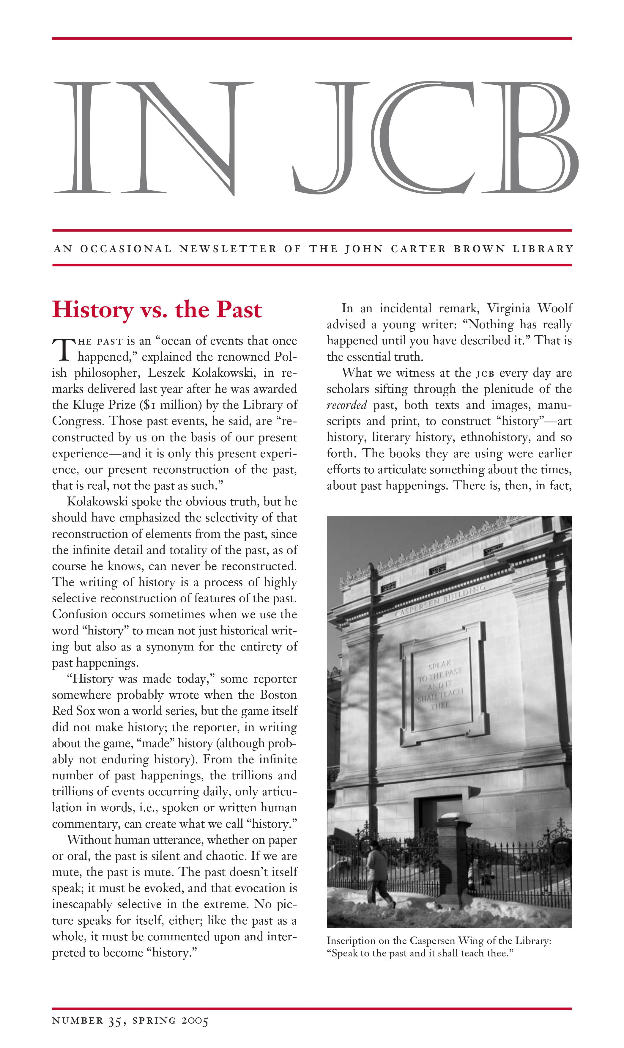 text of a newsletter and an image of one side of the exterior of the John Carter Brown Library