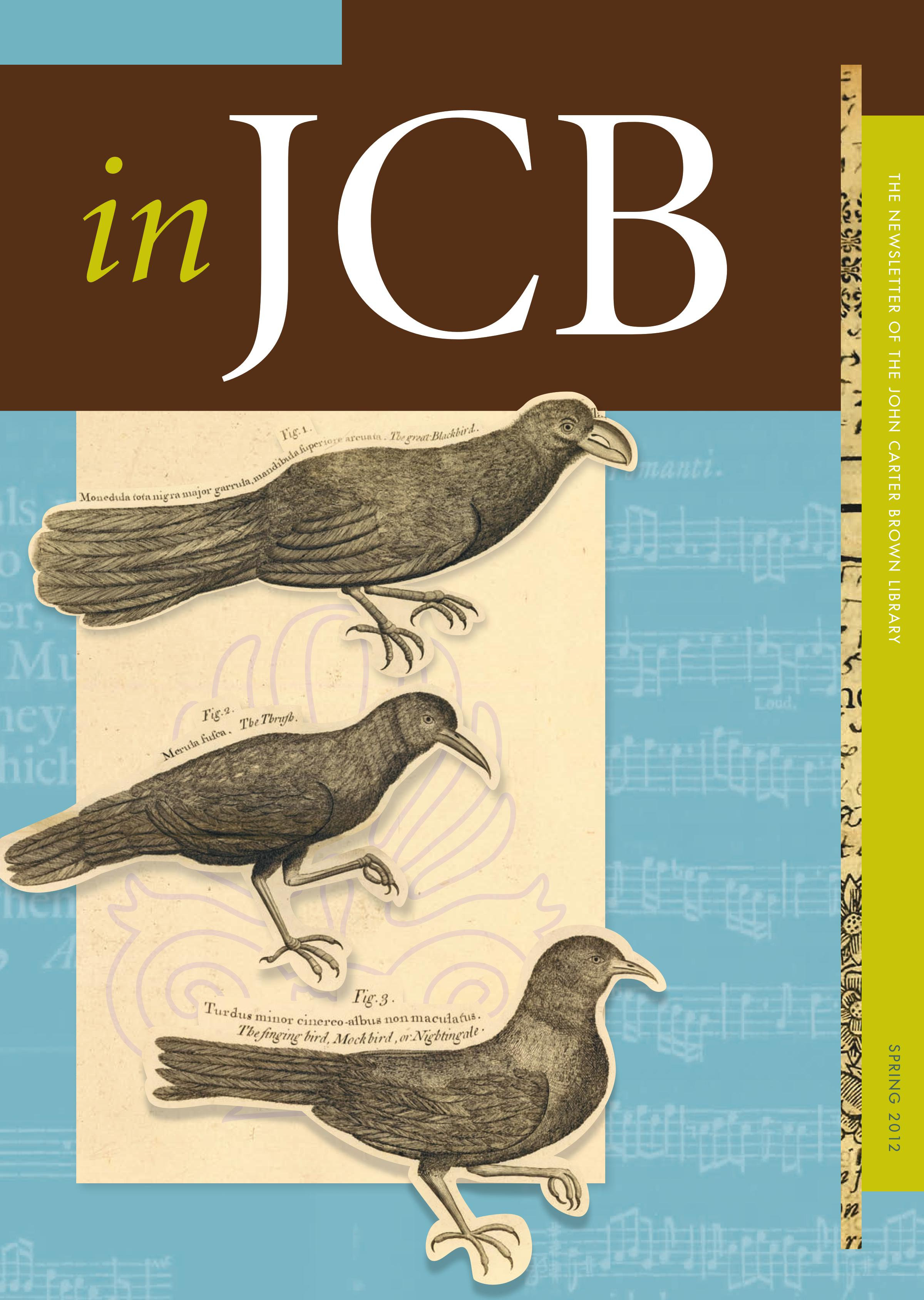 colorful cover of the In JCB newsletter, showing music notes in the background and cut-out images of three birds in the foreground