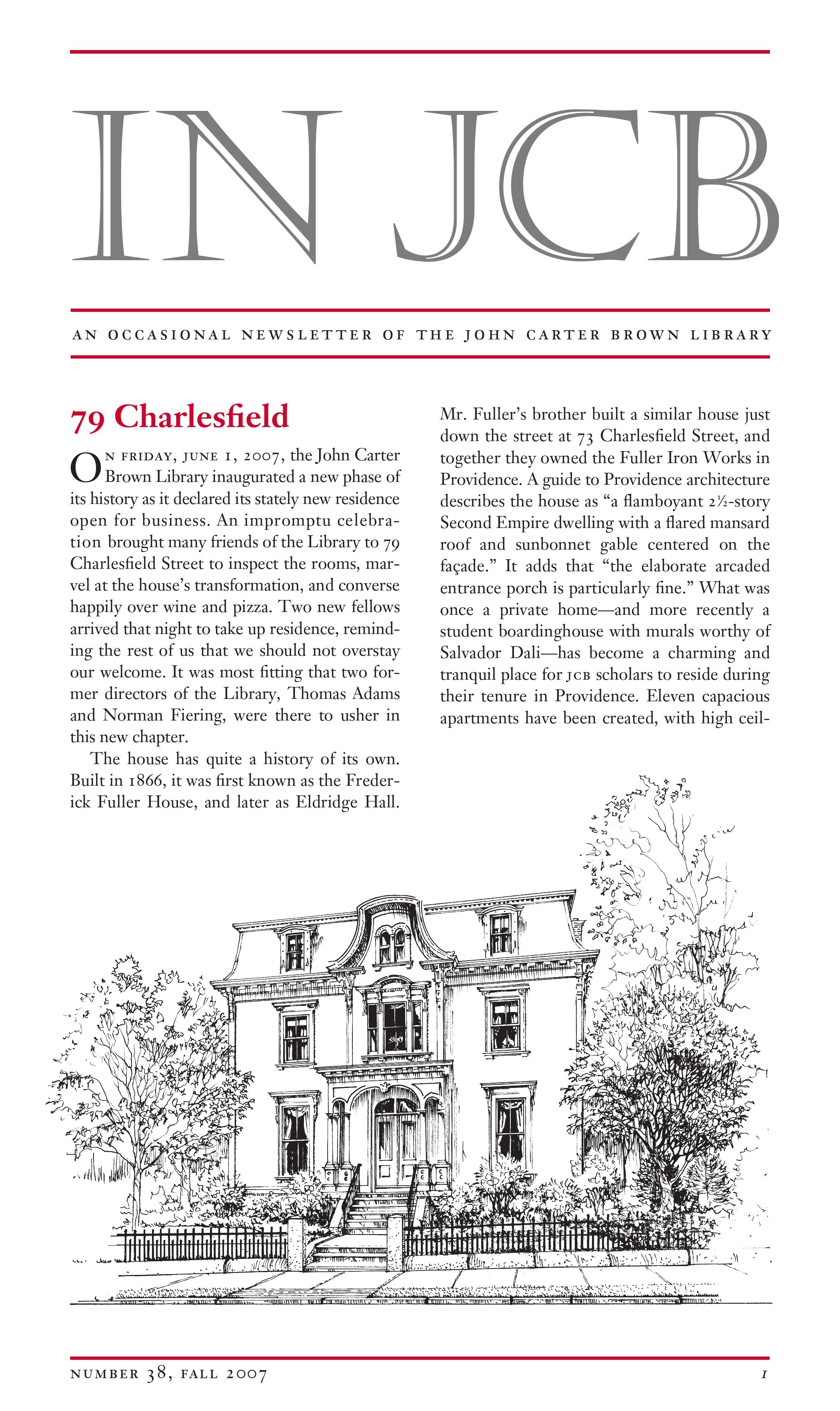 text of a newsletter and a sketch of a Victorian house surrounded by trees
