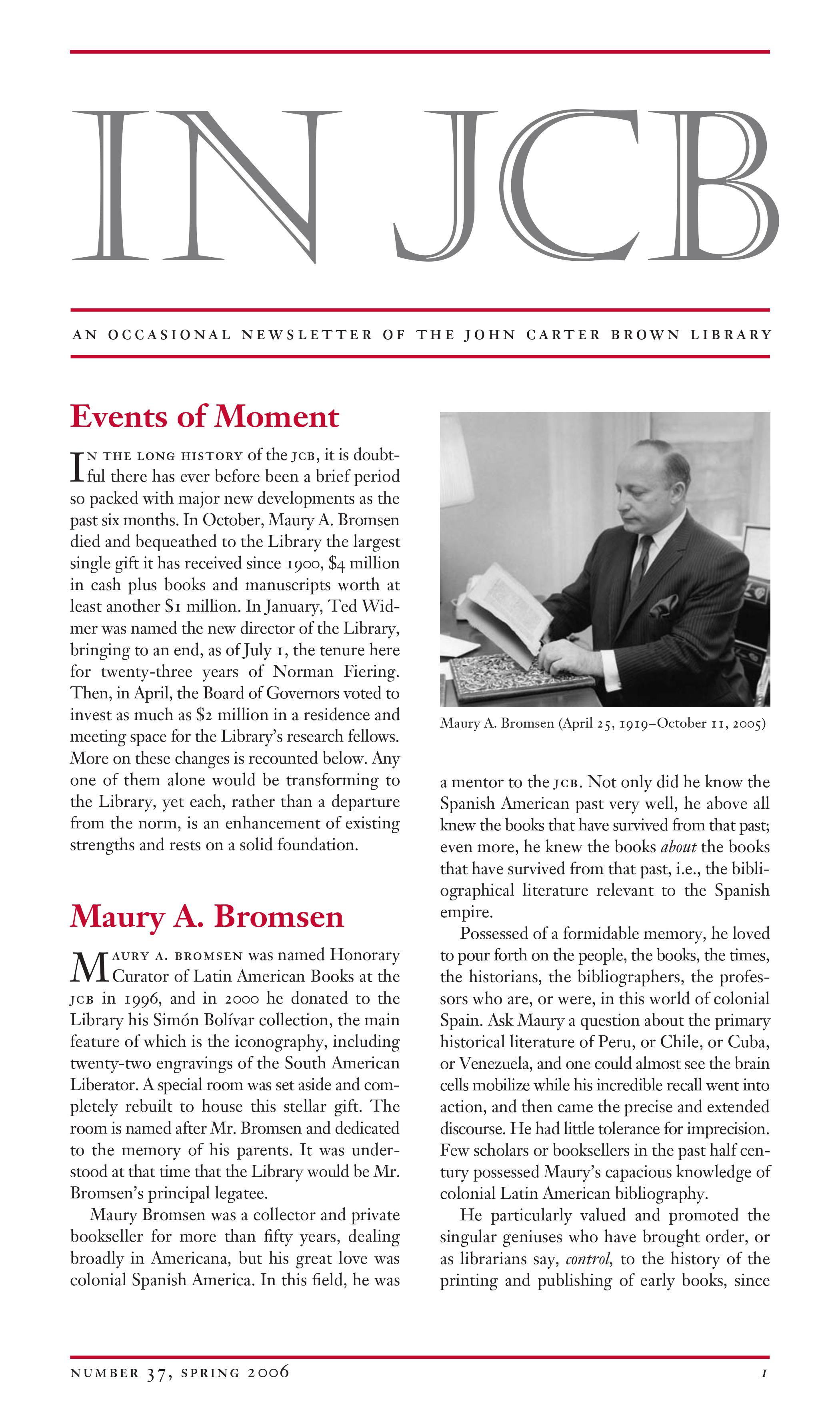 text of a newsletter and an image of Maury A. Bromsen holding and viewing a book