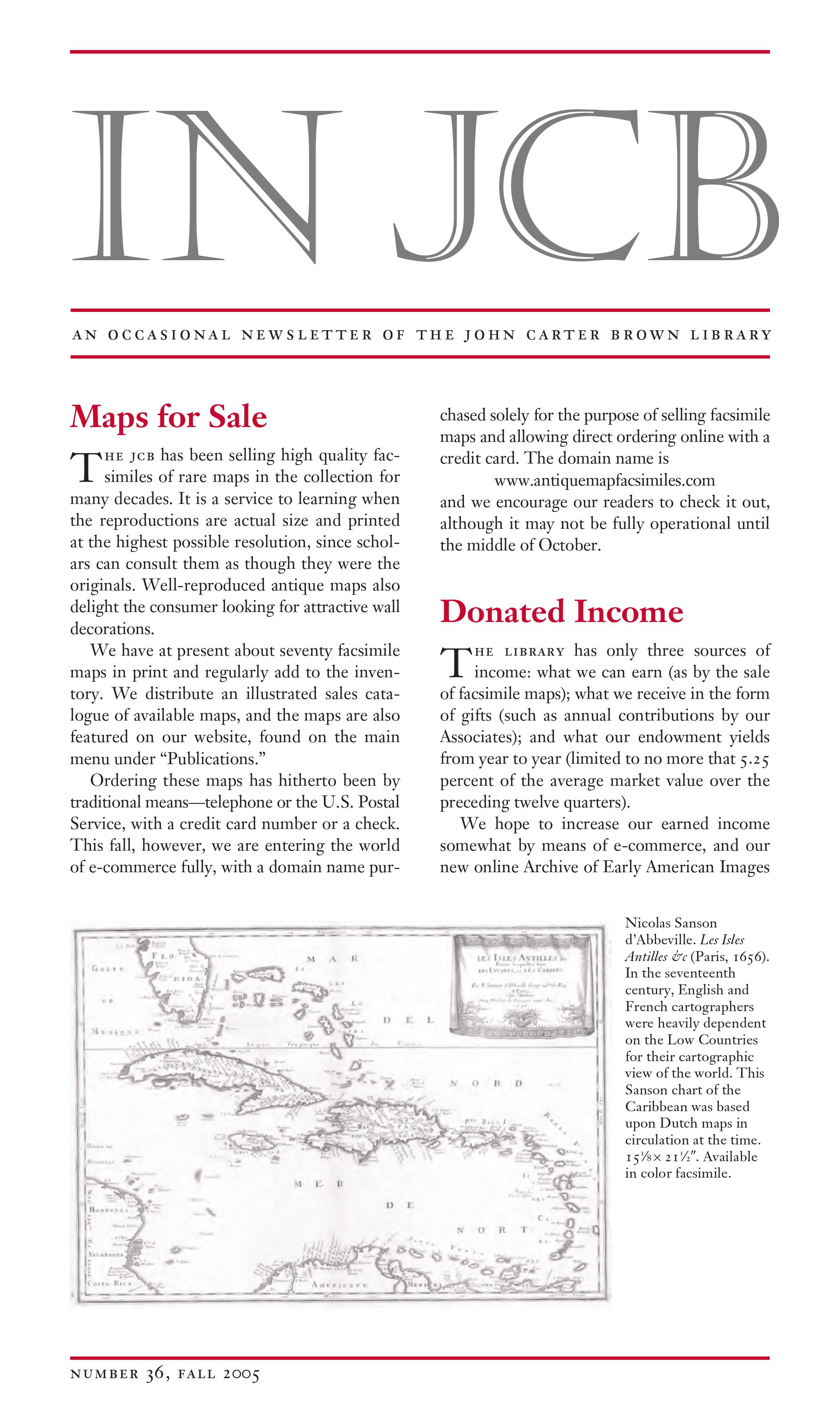 text of a newsletter and an image of a map of the Caribbean