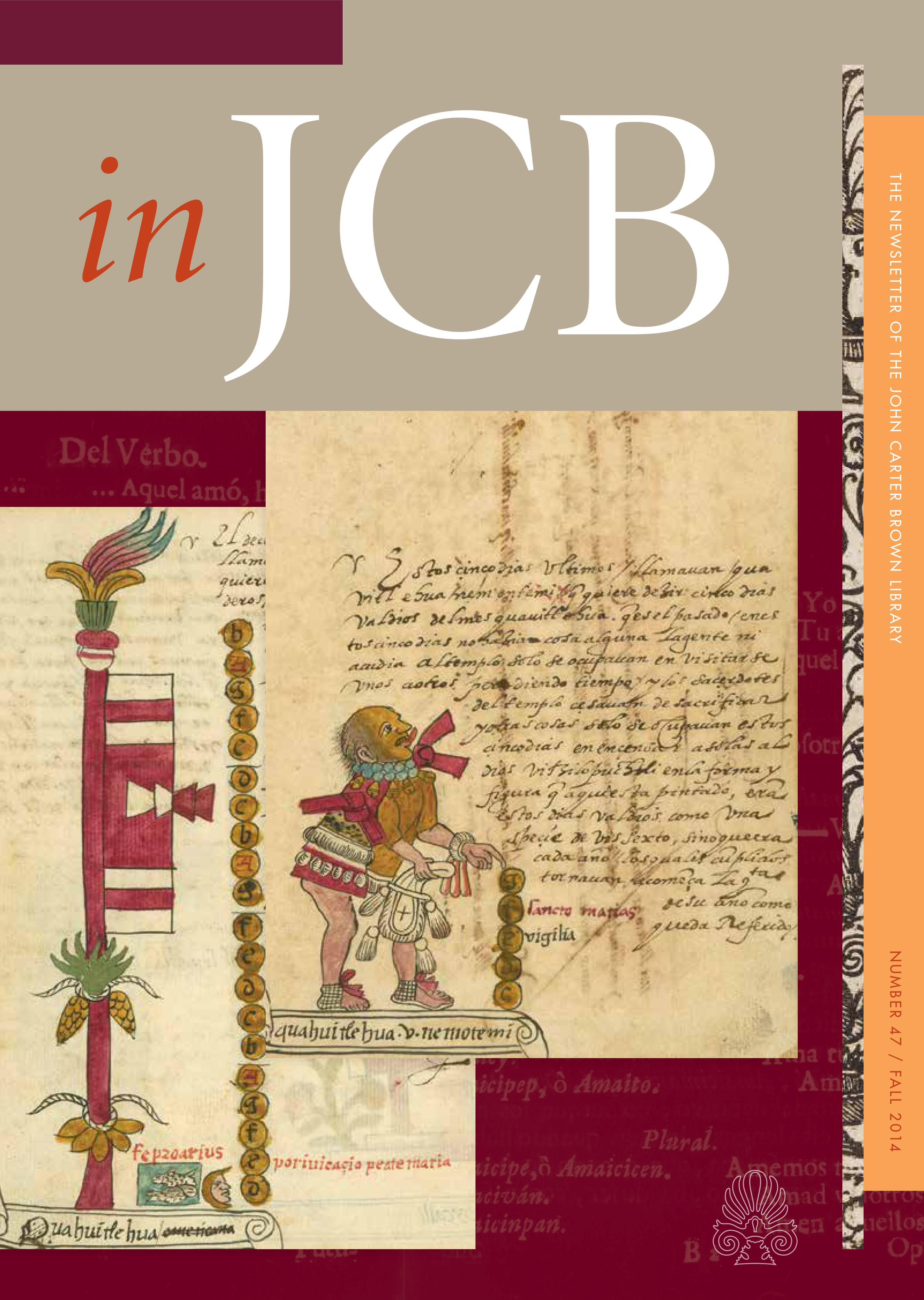 colorful cover of the In JCB newsletter, showing two pages with early manuscript text and images