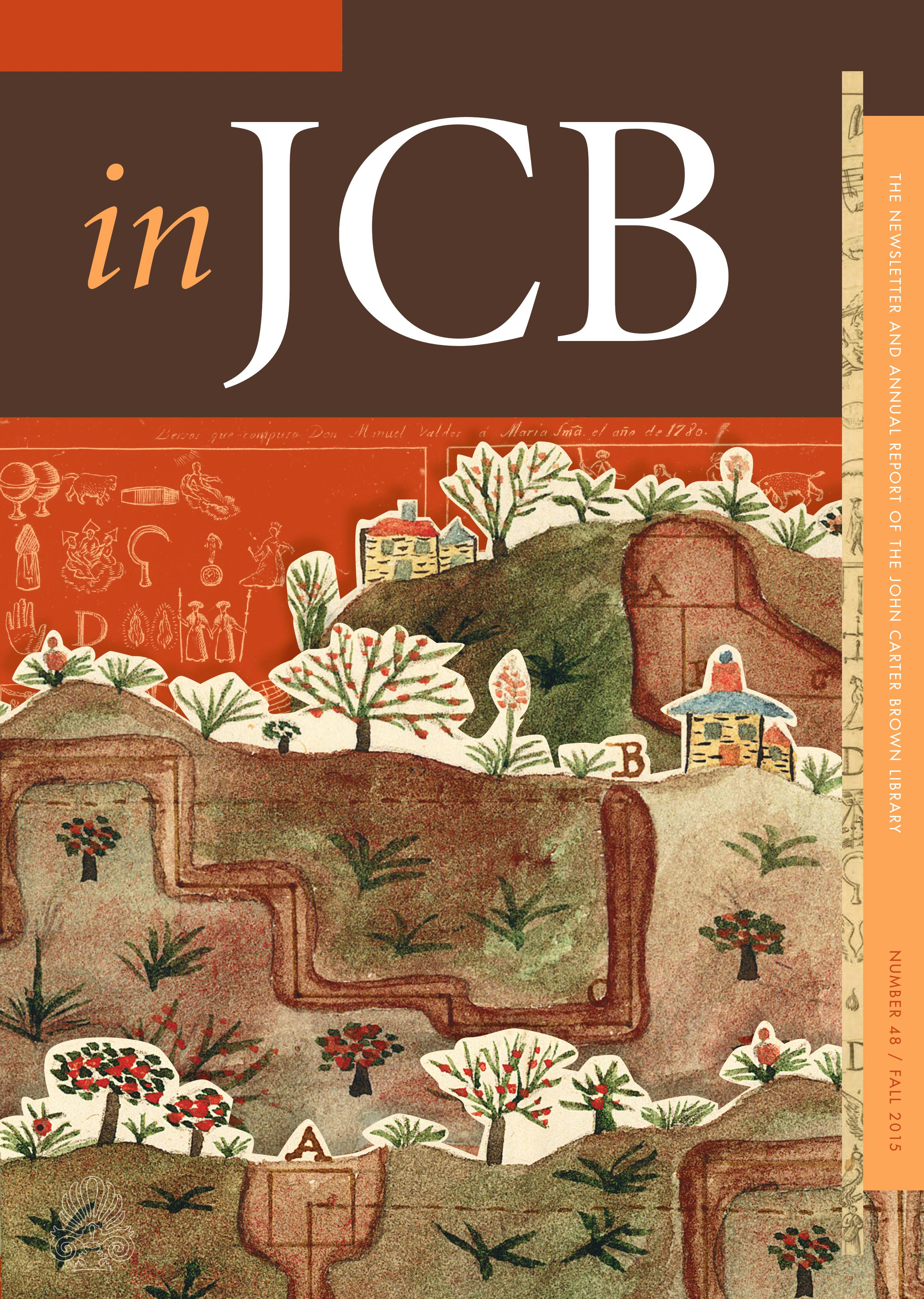 colorful cover of the In JCB newsletter, showing a collage of landscape images