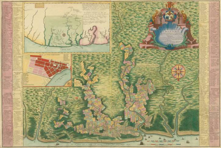 colorful map of Suriname with inset map of the coast of Guiana