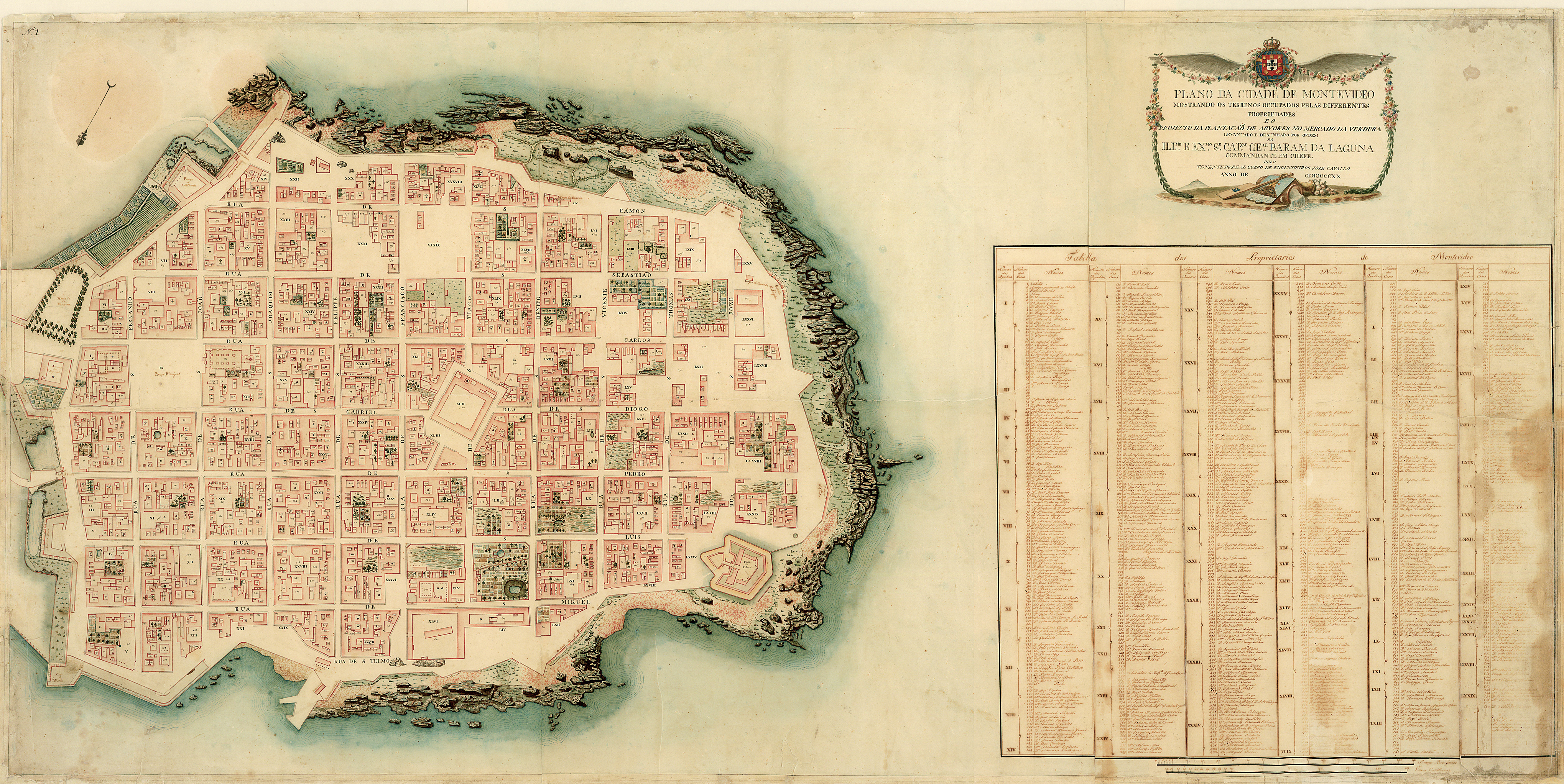 detailed manuscript plan of the city of Montevideo in present-day Uruguay, including location and names of inhabitants of the town, location of churches, fortifications, dwellings, gardens, and some topographical details