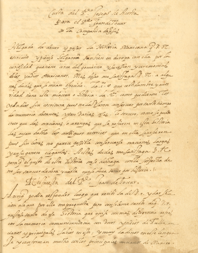 manuscript correspondence in Spanish between Juan de Tovar and José de Acosta