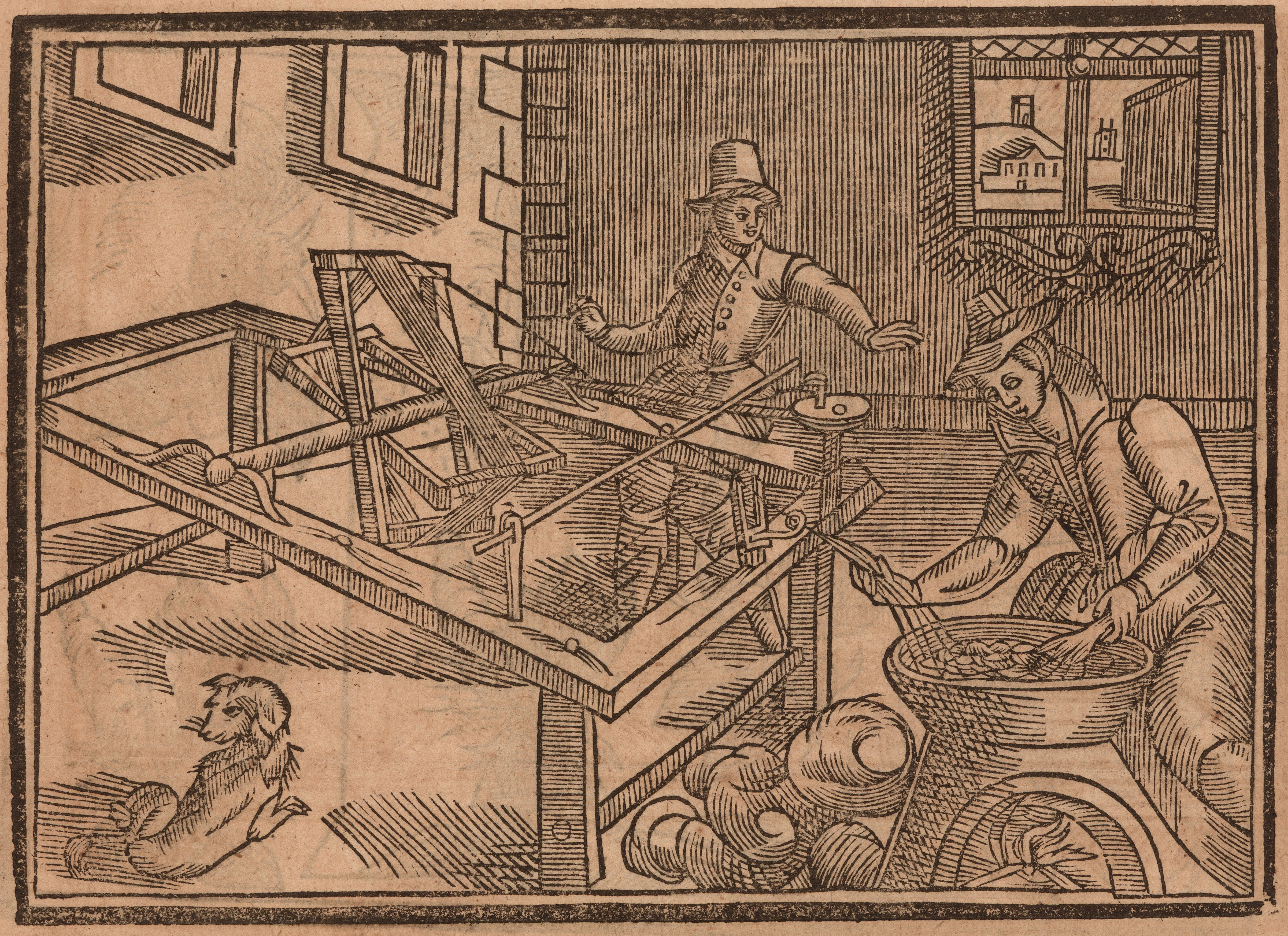Woodcut of a man and woman making silk thread.