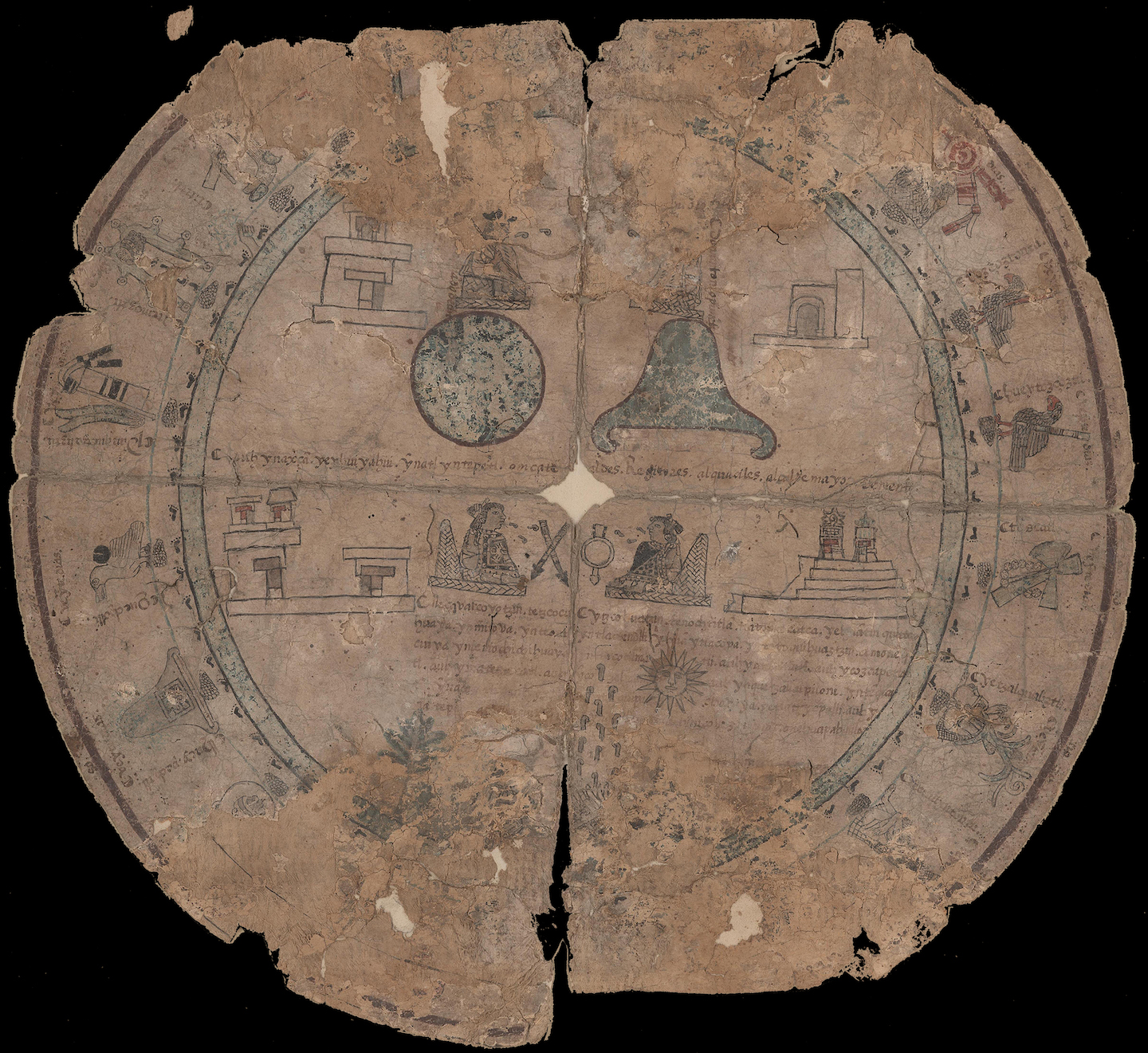 circular manuscript calendar on maguey fiber with symbolic representation of the months and day of the Aztec year with explanatory text in Nahuatl language transcribed into European script