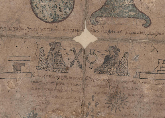 close-up of two figures on the Boban calendar wheel