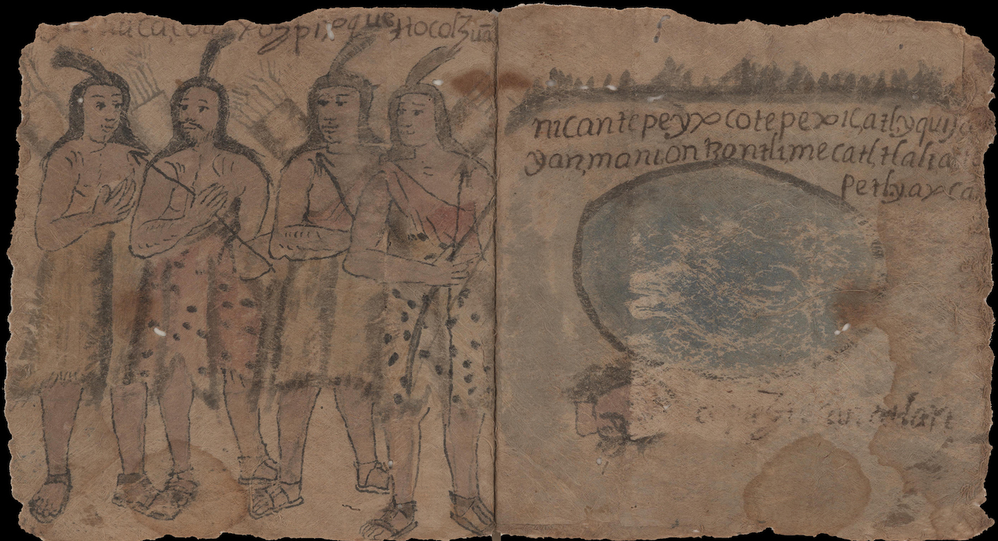 manuscript illustration of four Native Americans of Mexico