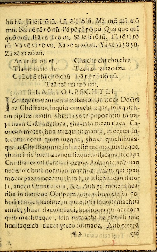printed alphabetic catechism in Nahuatl