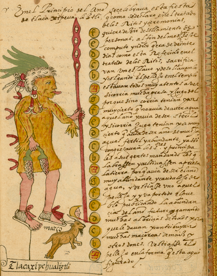 manuscript text and hand-colored illustrations from the Tovar Codex