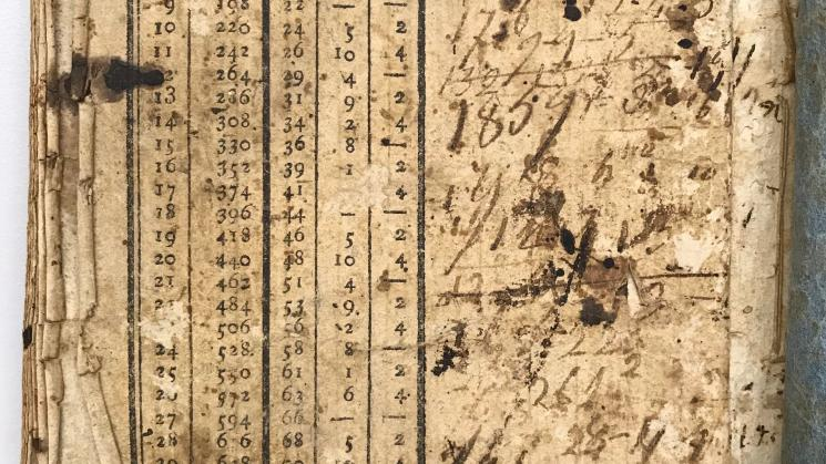 worn, yellow-tinted pages of a 19th century almanac