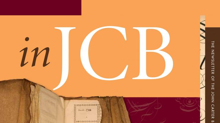 colorful cover of the In JCB newsletter, showing an image of an eighteenth century ticket book and tickets