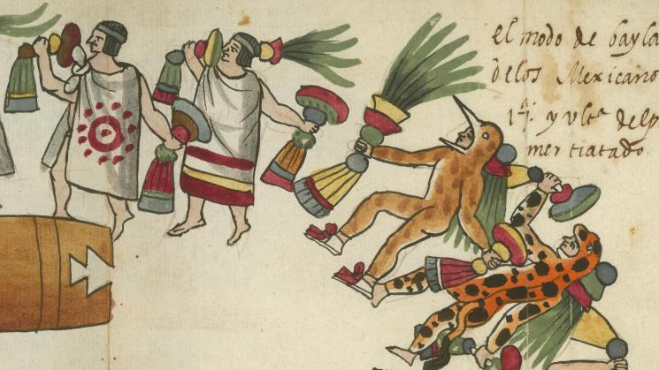 Image from: Tovar Codex-El modo de baylar de los Mexicanos. 17a y última del primer tratado. [Juan de Tovar 1585]. Original at the John Carter Brown Library.