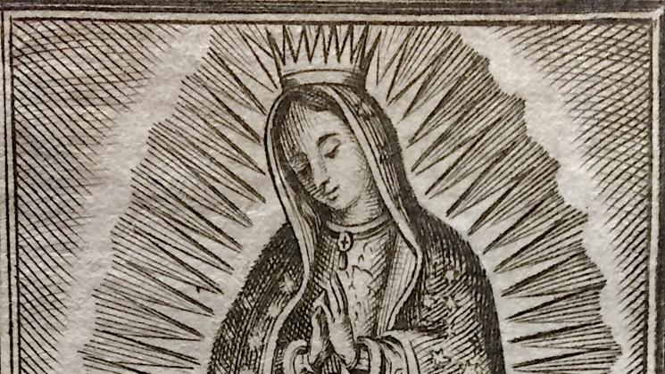 black and white image of the virgen