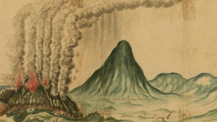 detail of an image with smoke and lava erupting from volcanoes and grassy hills in the background