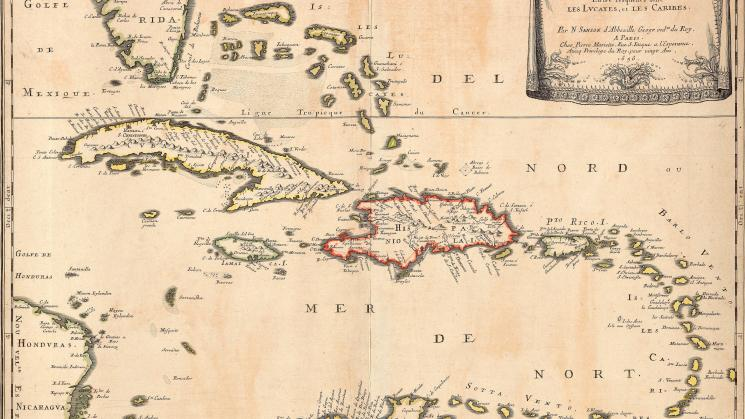 colored seventeenth century map of the Caribbean