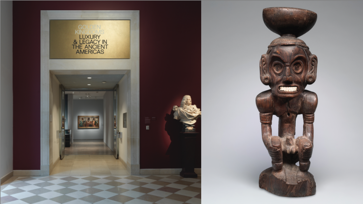 two images, one of the entrance to the Golden Kingdoms exhibition at the Metropolitan Museum of Art and the second a wooden deity figure