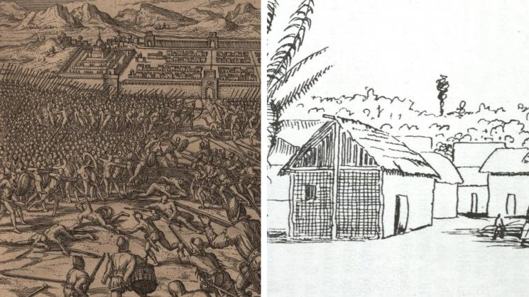 two images, the first an engraving of Native Americans and Spanish soldiers fighting around Cuzco, the second an illustration of an Indigenous group's village in Santarém, Pará, Brazil