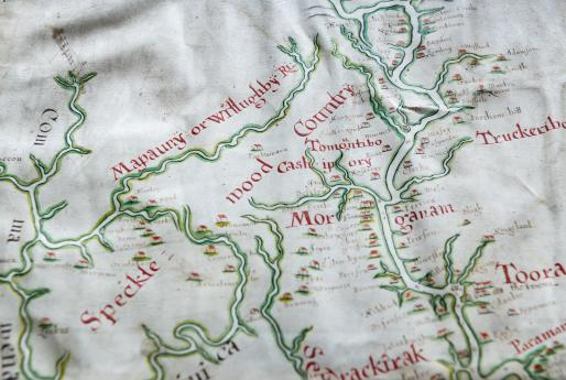"Detail of hand colored, manuscript map shows rivers (outlined in green) and labels written in red ink. Near the large, red letters reading ""Mor"" there is a plantation notable for being labeled ""Jews."" Other plantations are labeled with surnames."