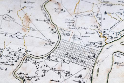 Detail of hand colored, engraved map of Philadelphia, Pennsylvania shows roads, rivers, and settlements. Text in English labels features.