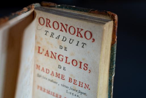 "Detail of title page shows red and black printed text reading ""Oronoko, traduit de l'anglois, de Madame Behn."""