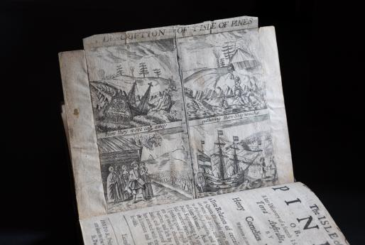 Detail from a printed text a series of four illustrations that depict the journey by ship to the Isle of Pines.