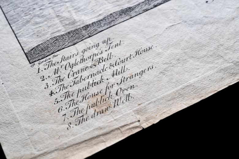 Detail of an engraved map shows the key where numbered items within the map are listed.