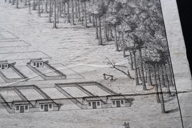 Detail of an engraved map shows people cutting a tree down in a forest that lies beyond the city's grid layout.