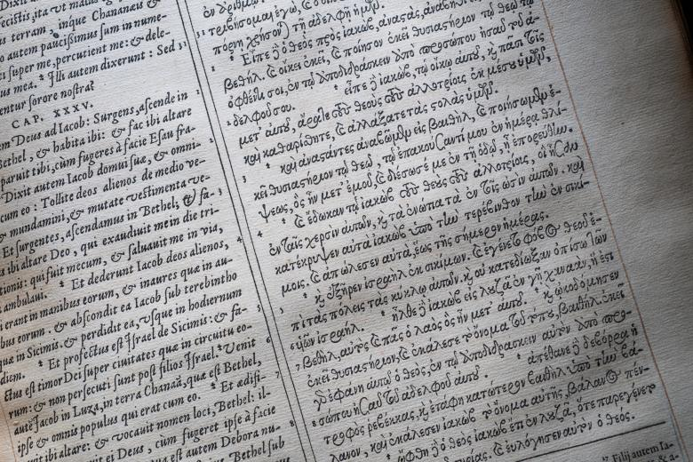 Detail of a page that is split in half. The left portion of the page is designated to text in Latin while the right side shows text in Greek.