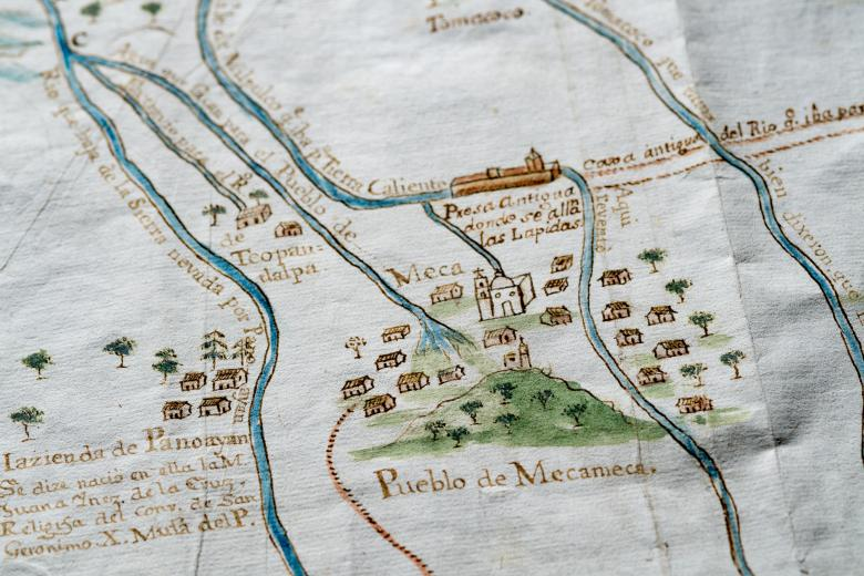 """Detail of a hand colored manuscript map shows locations labeled in Spanish such as """"Hazienda de Panoayan"""" and """"Pueblo de Mecameca."""" Churches, trees, and rivers are also included in the map."""