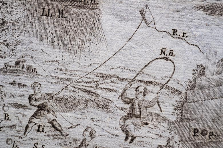 Detail of an engraved print shows children flying a kite, jumping rope, and playing with other items. Items in the illustration are labeled.