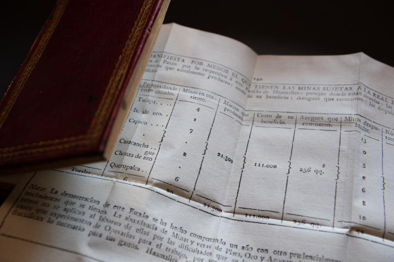 Detail of a printed book shows a fold-out chart with text in Spanish.