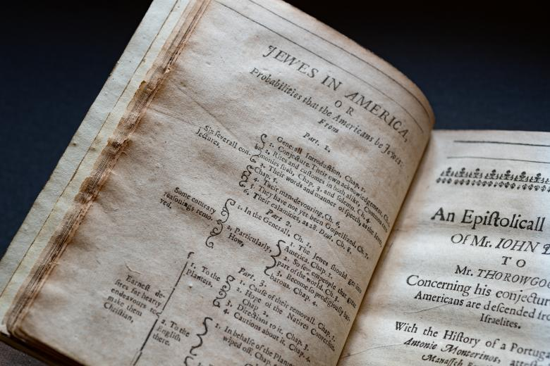 Detail of a printed book shows title of the book at the top of the page and the index with text in English.