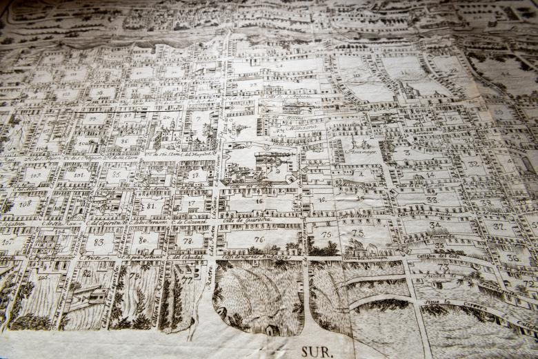 Detail of an engraved city plan of Queretaro shows numbered blocks in the city layout.