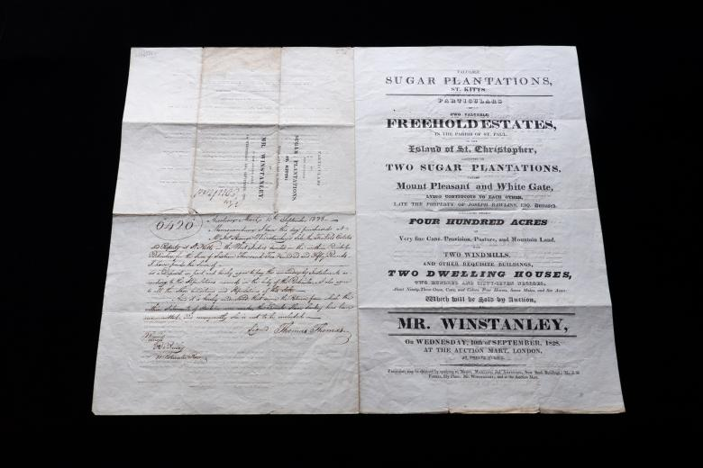 Printed document shows details of a sugar plantation with manuscript notes.
