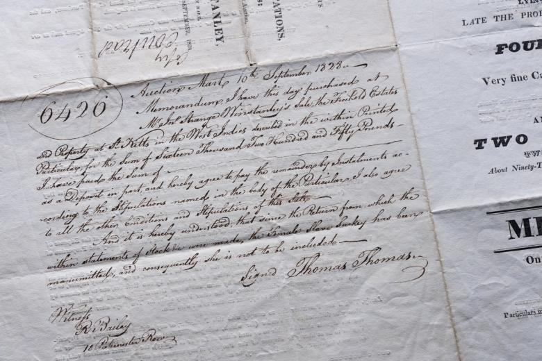 Detail of manuscript notes shows memorandum by a purchaser.