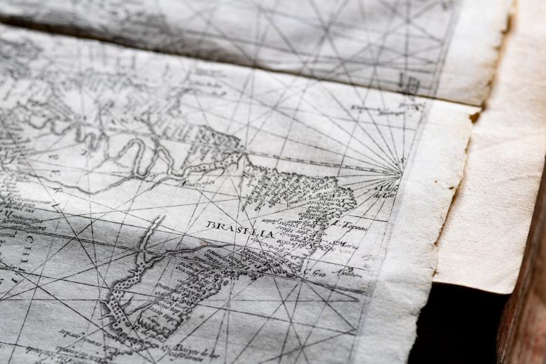 """Detail of fold-out engraved map shows Brazil labeled """"Brasilia."""""""