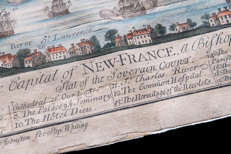 """Detail of engraved, hand colored print of Quebec City shows row of large buildings and key where the numbered items are identified in English. Some of the visible text reads """"7. Cathedral of Our Lady"""" and """"10. The Hôtel Dieu."""""""