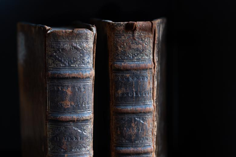 Detail of calf-bound book shows worn spine, embossed detail, and stamped title.