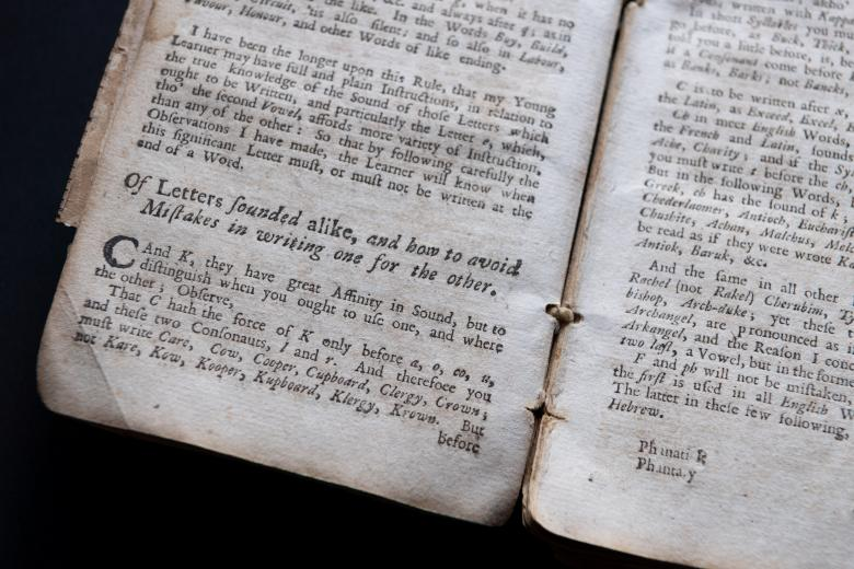 Detail from printed book shows text in English.