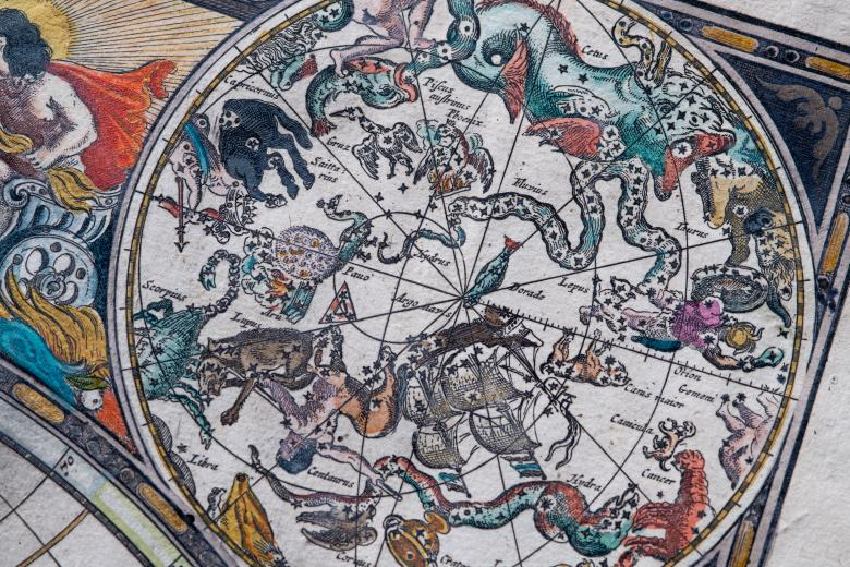 """Detail from an engraved, hand colored map shows vivid illustrations of celestial sphere with their constellations and zodiac signs around the sun. Labels in Dutch read """"Taurus,"""" """"Orion,"""" and """"Saittarius."""""""