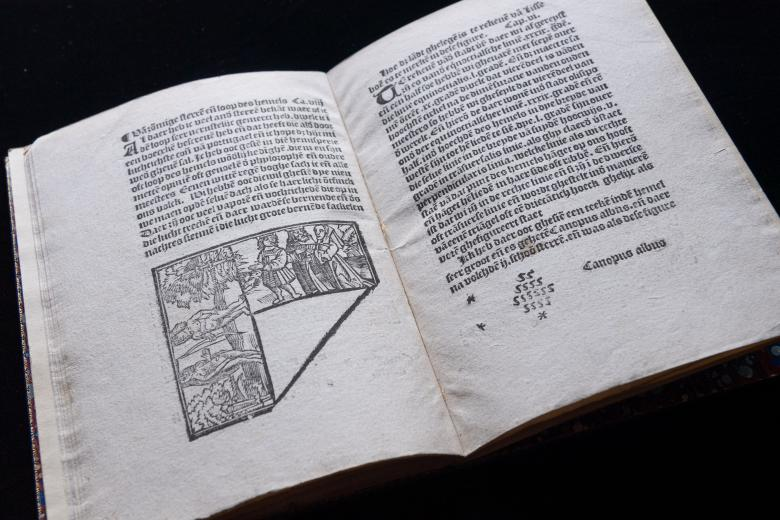 Overview of a printed text shows a small illustration and text in Dutch.