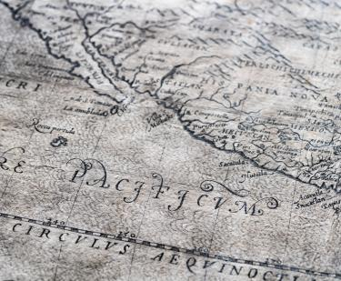 Detail of a map shows text in Latin.