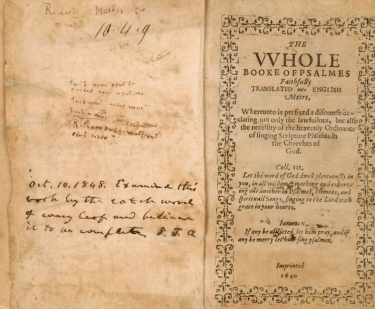 "Printed title page includes decorative border and text in English reading ""The Whole Book of Psalmes Faithfully translated into English metre."" Left side of the page shows manuscript notations."