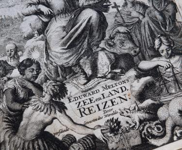 Detail of a printed book shows engraved title page depicting women, ships, and animals. Text in Dutch.