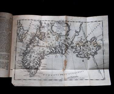 "Engraved fold-out map shows Greenland spelled ""Grœnland"" and other text in German."